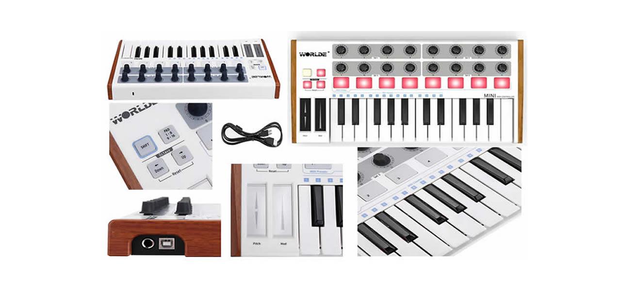 Controlador Worlde Portátil MIDI Mini Profissional 25 Teclas USB Drum Pad